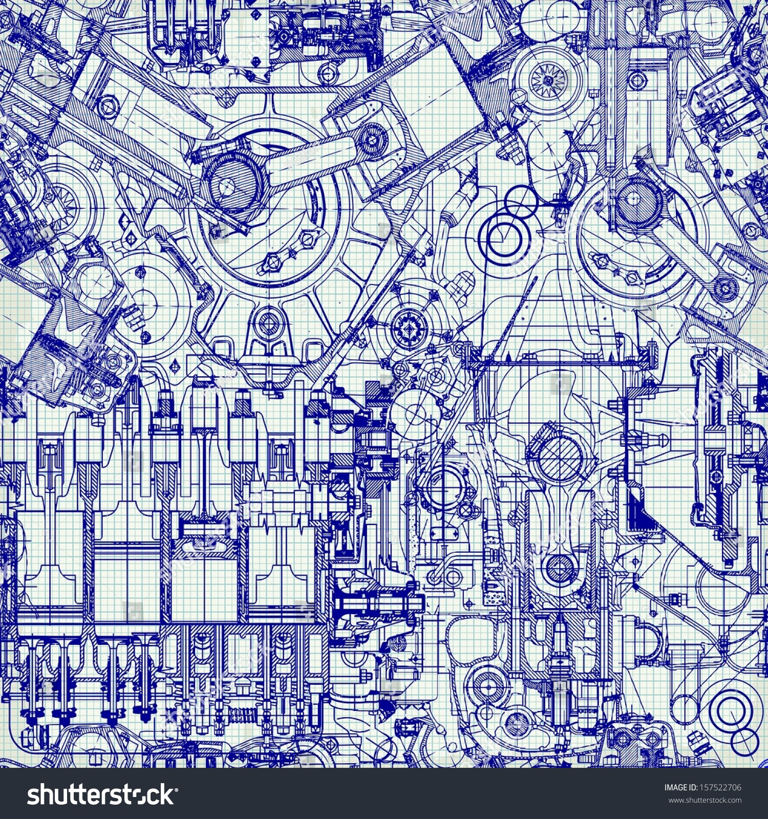 seamless background drawing old engine on stock vector
