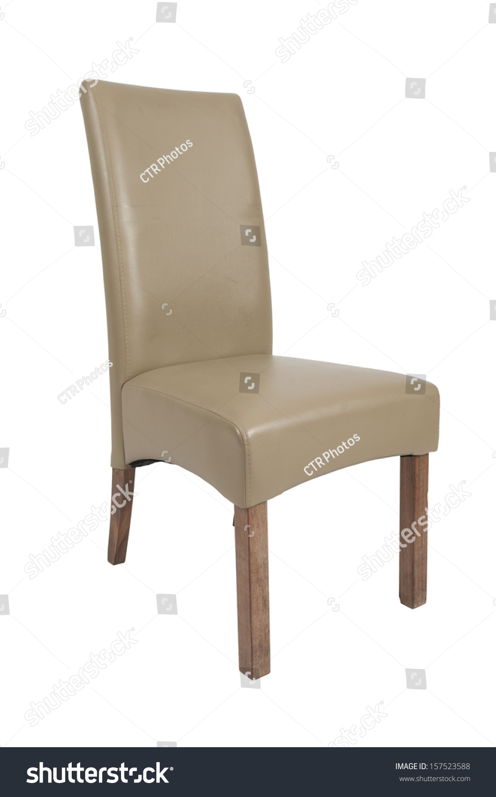 single beige dining room chair on a white background stock photo