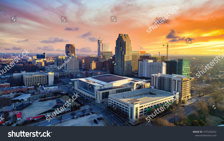 Downtown Raleigh, North Carolina, USA Drone Skyline Aerial #1575250252