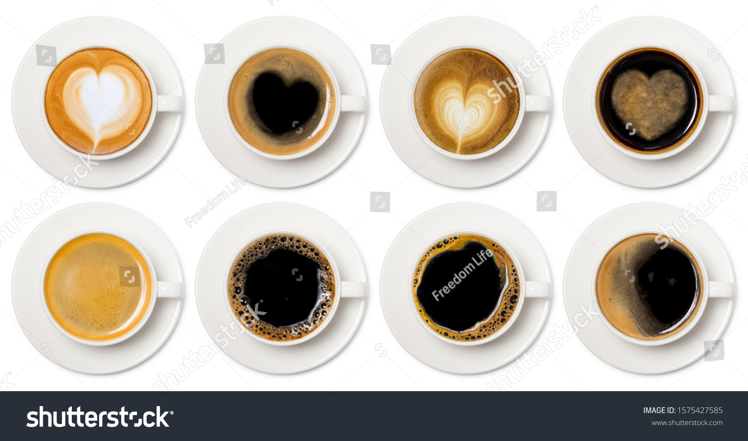 coffee cup assortment top view collection, coffee cup assortment with heart sign top view collection isolated on white background. #1575427585