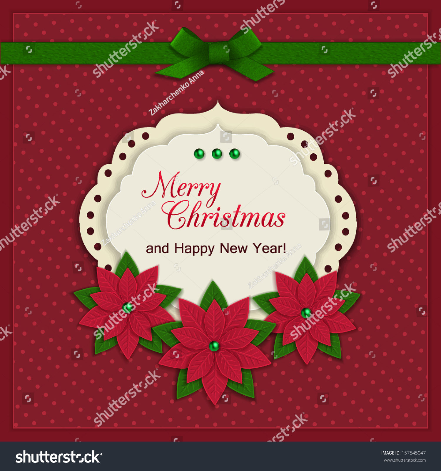 Merry Christmas Greeting Card Modern Handmade Stock Vector 157545047