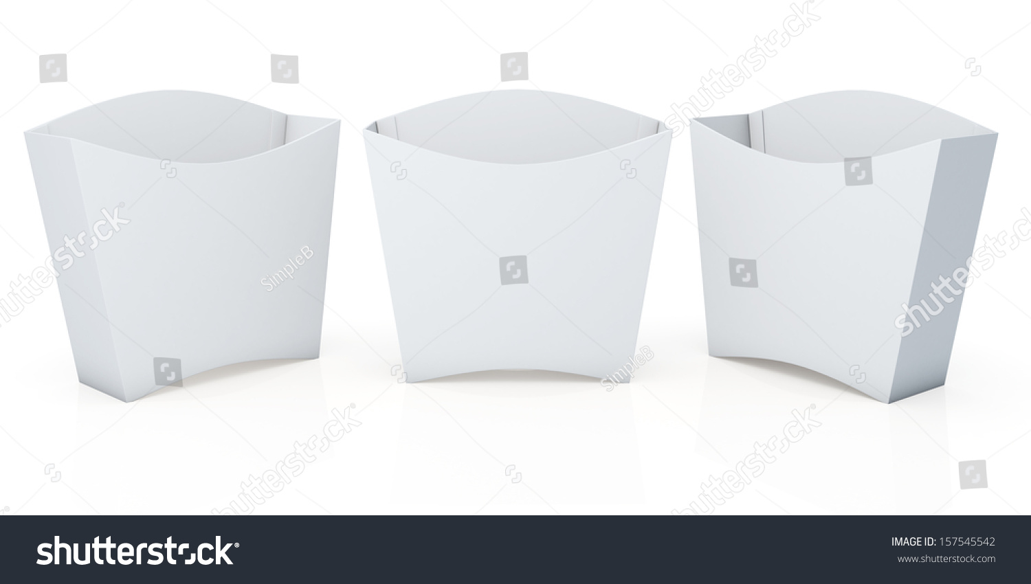 3d Clean White Container For French Fries Snack Products Blank Template In Isolated Background With