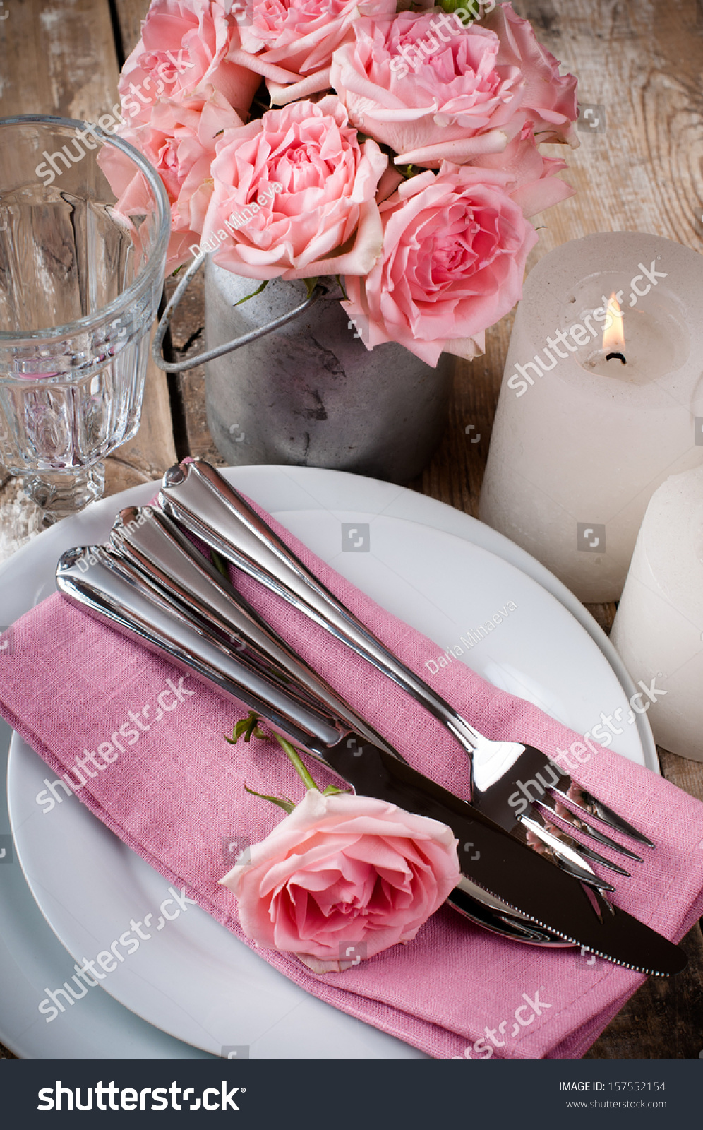 Vintage Festive Table Setting Pink Roses Stock Photo 157552154 ...