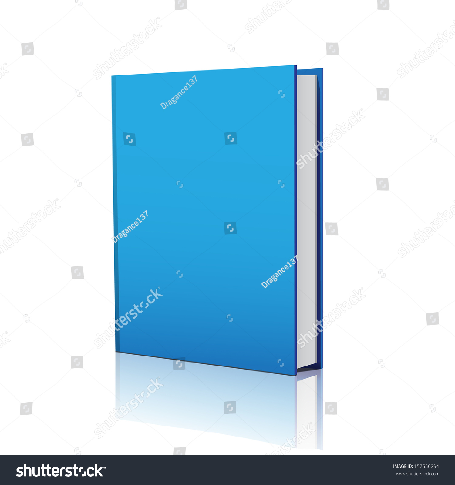 Blue Book Cover Background : Blank blue book cover over white stock vector