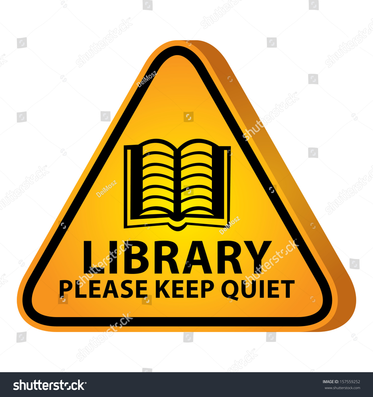 Keep Quiet Pictures Stock Photo D Yellow Glossy Style Triangle Caution