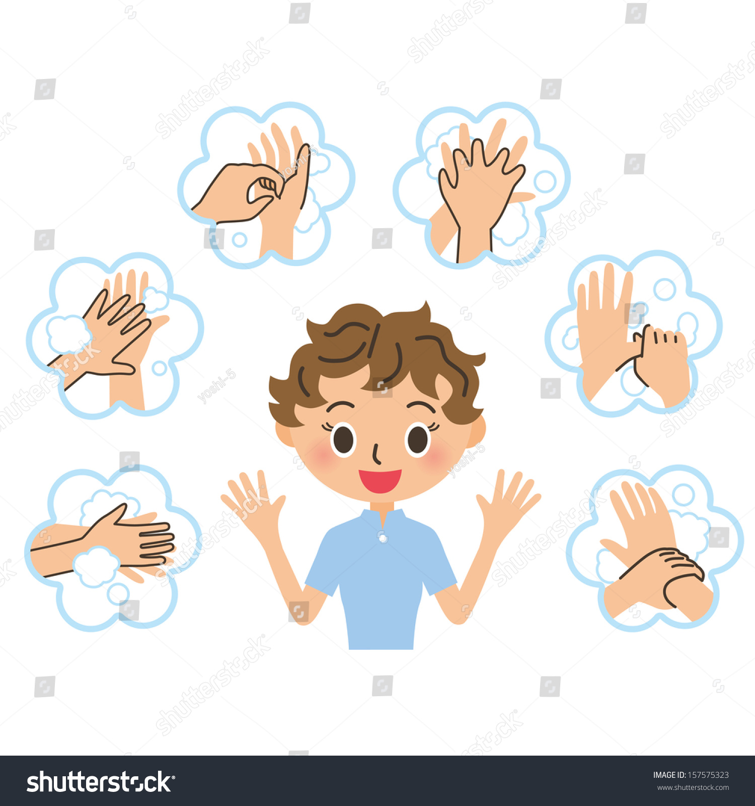 Woman Who Explains The Handwashing Stock Vector 157575323 ...