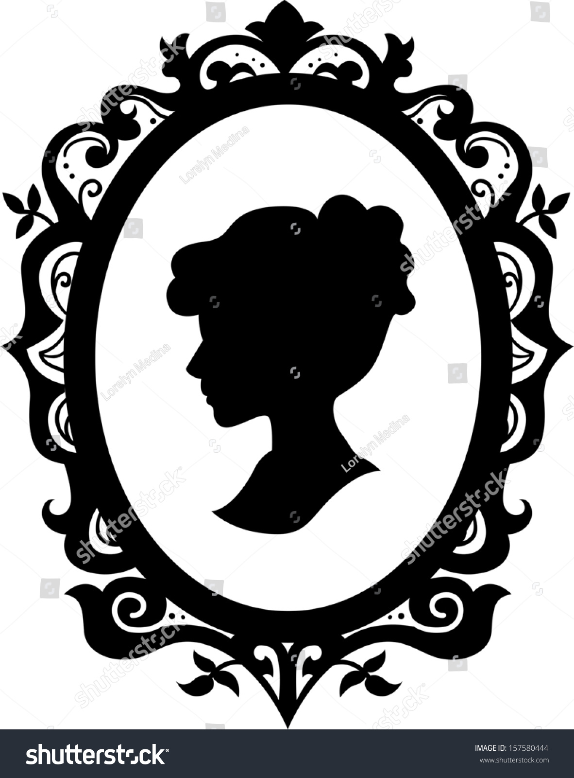 Black White Illustration Cameo Featuring Silhouette Stock
