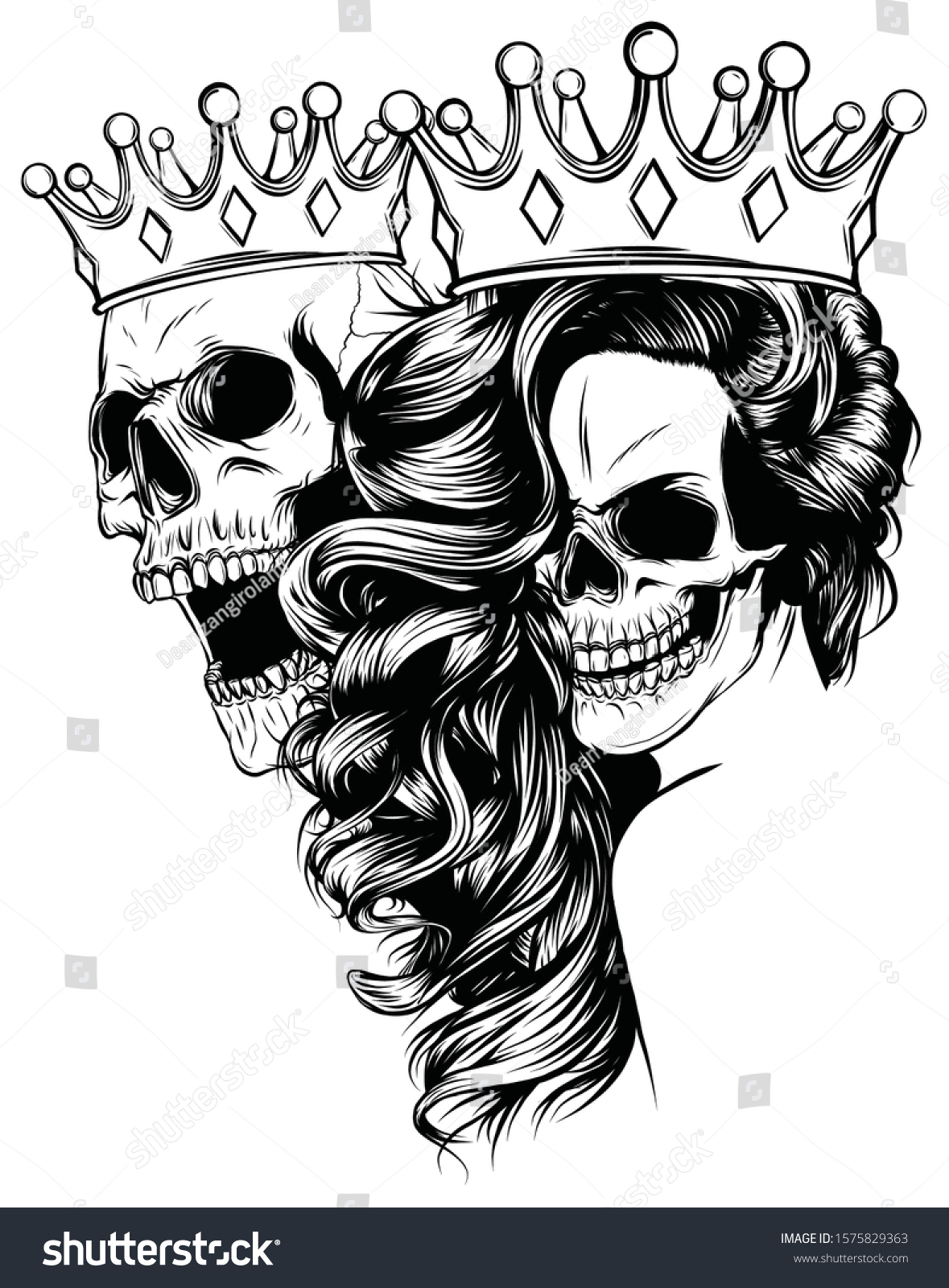 Tattoo King Queen Death Portrait Skull Stock Vector Royalty Free 1575829363 | see more about monami frost, tattoos and piercings. https www shutterstock com image vector tattoo king queen death portrait skull 1575829363