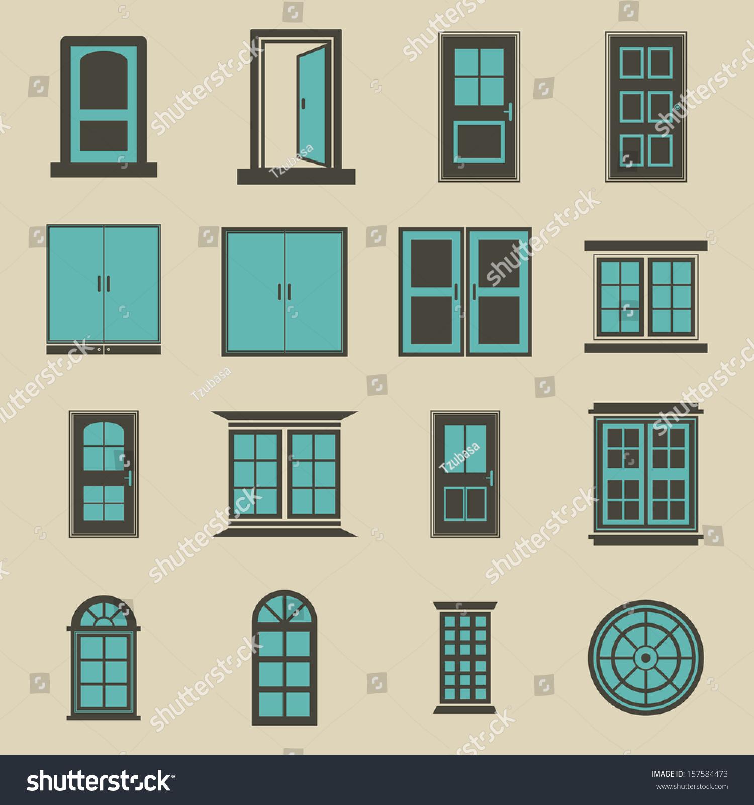 Door and window vector color 157584473 shutterstock for Door and window colour