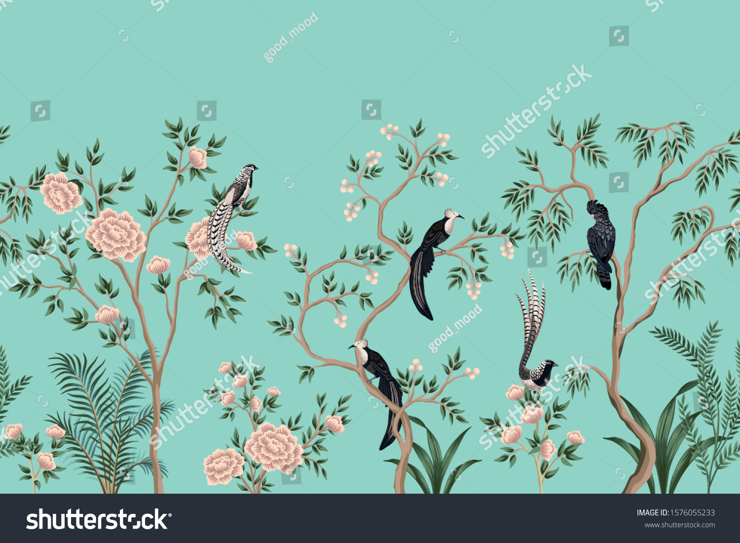 Vintage Chinoiserie Floral Rose Tree Plant Stock Vector Royalty Free 1576055233