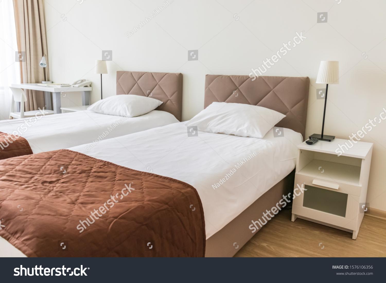 European Light Bedroom Interior Brown Beige Stock Photo Edit Now 1576106356