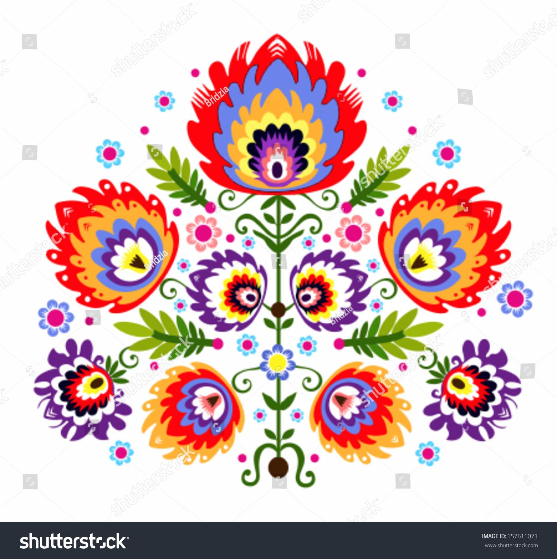 Folk Embroidery Flowers Polish Traditional Folk Stock