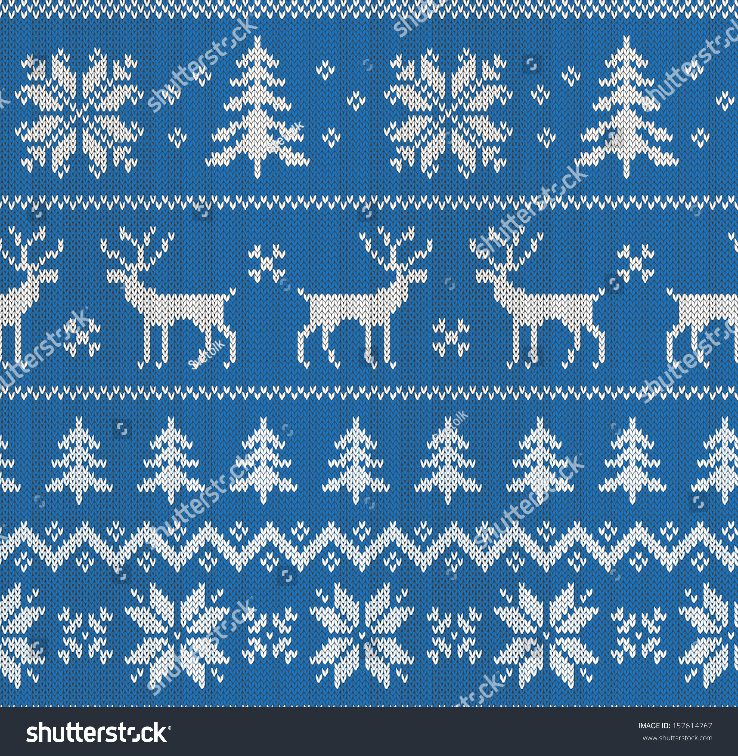Seamless pattern with imitation of knitted winter sweater design - deer, snowflake and christmas tree
