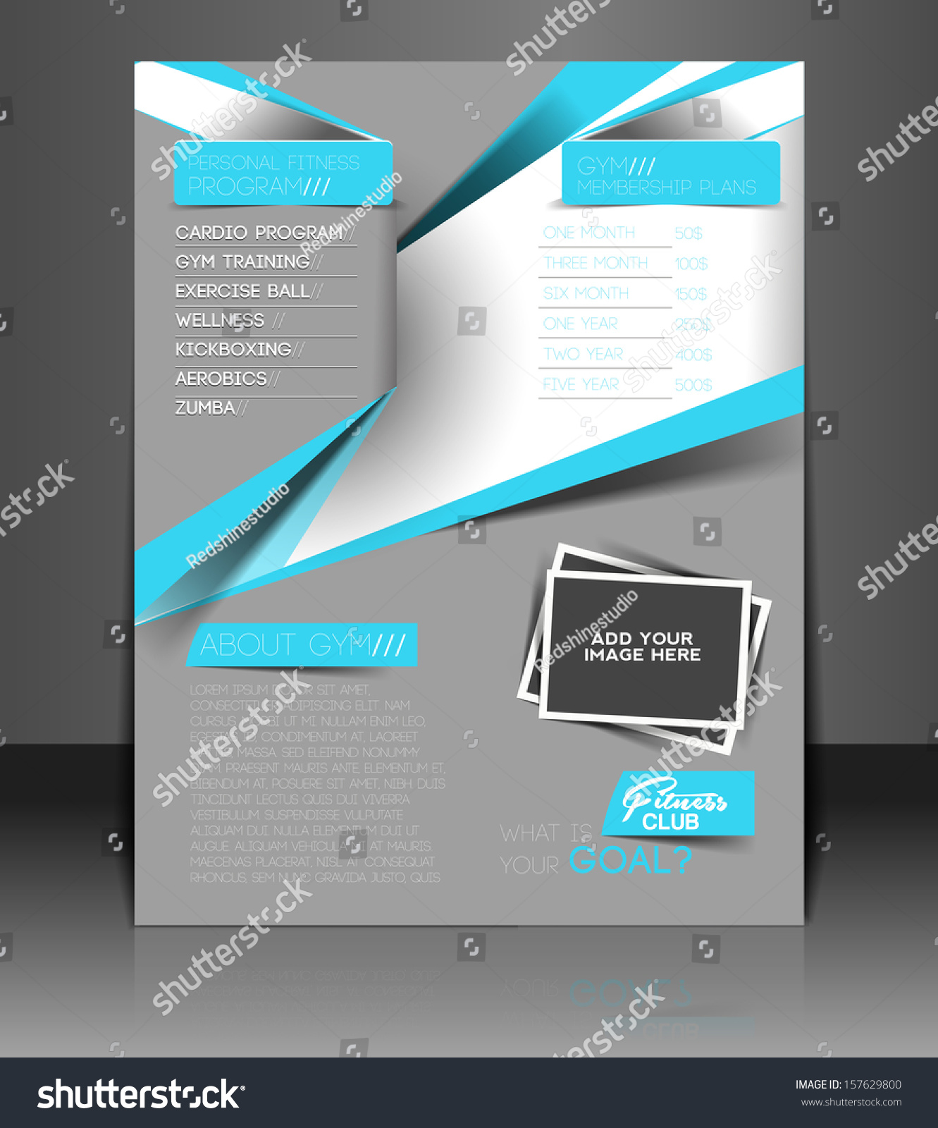 vector fitness center front flyer template stock vector 157629800 vector fitness center front flyer template design