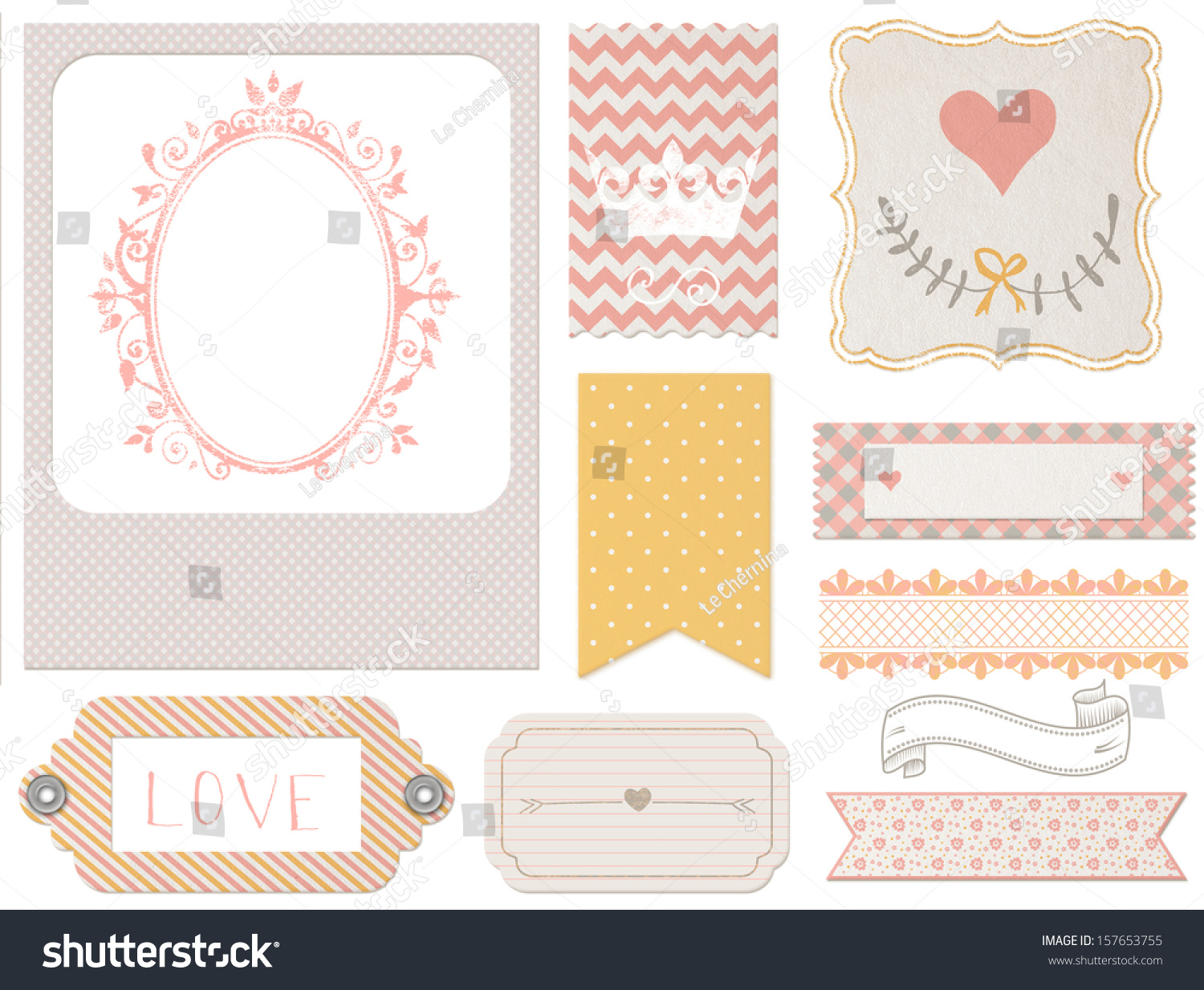Vintage Scrapbook Elements Photo Frames Tags Stock Illustration ...