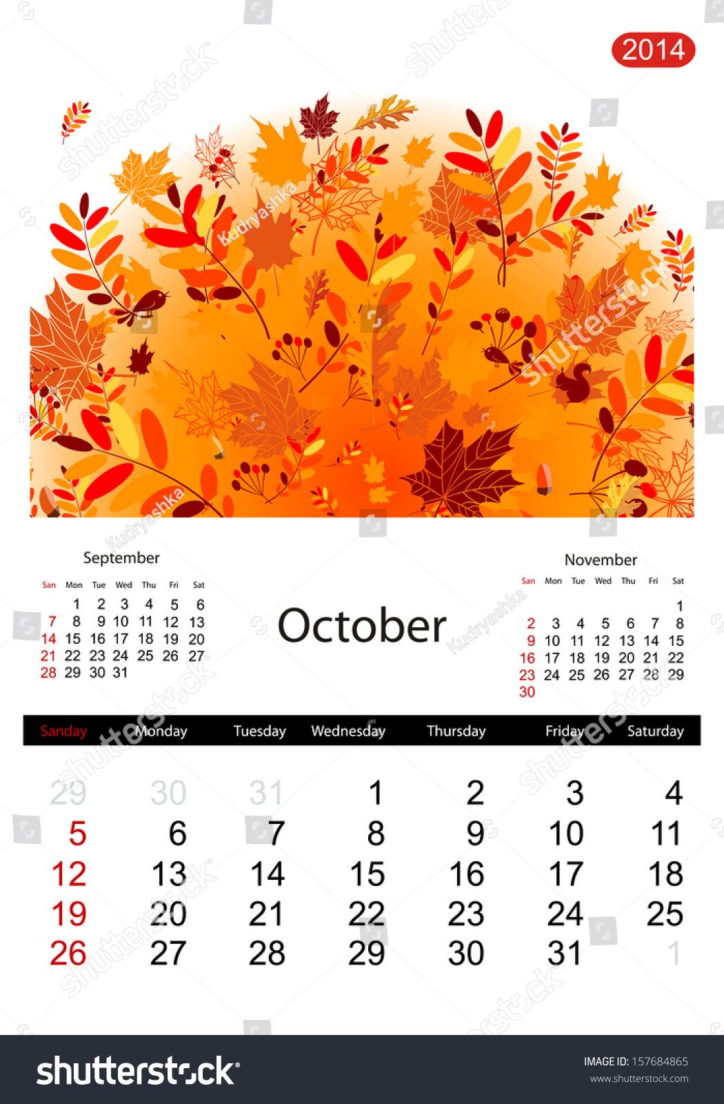 October Calendar Illustration : Floral calendar october stock vector illustration