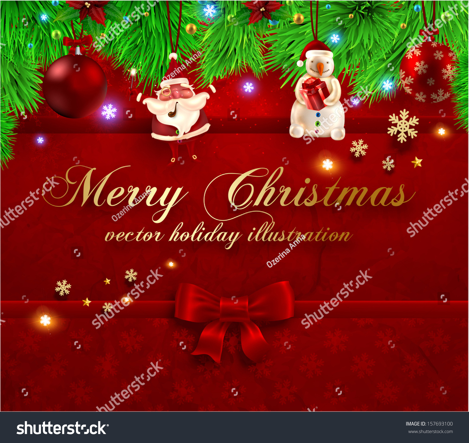Christmas Greeting Card Abstract Xmas Background Stock Vector
