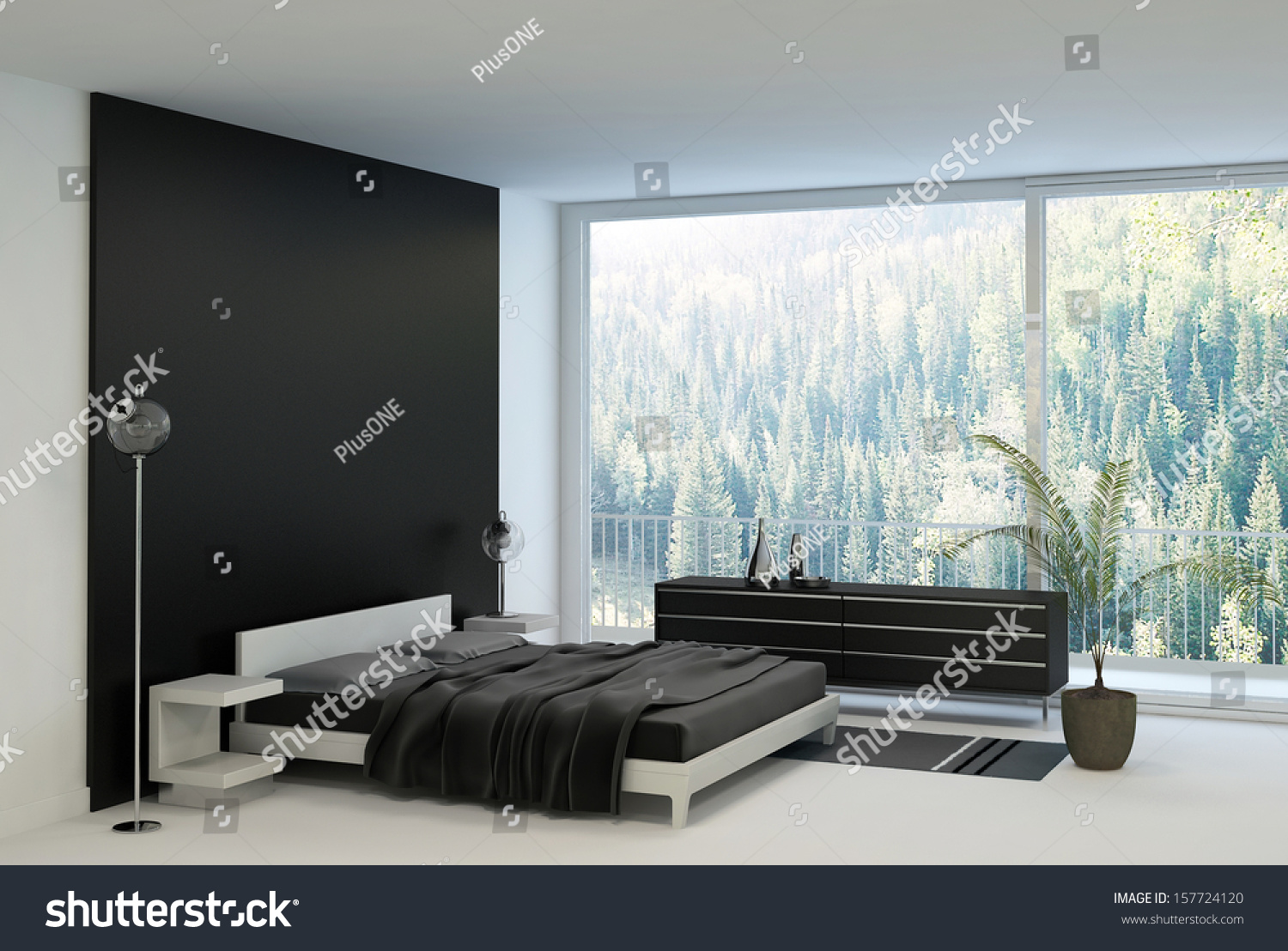 Ultramodern bedroom interior double bed against stock illustration 157724120 shutterstock Master bedroom bed against window