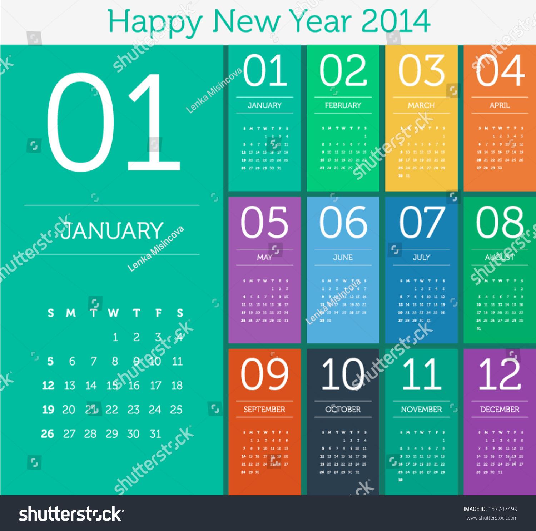 Calendar Flat Illustration : Calendar flat design color stock vector
