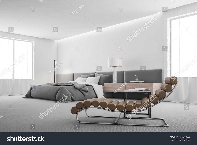 Corner Comfortable Master Bedroom White Walls Stock Illustration 1577508352