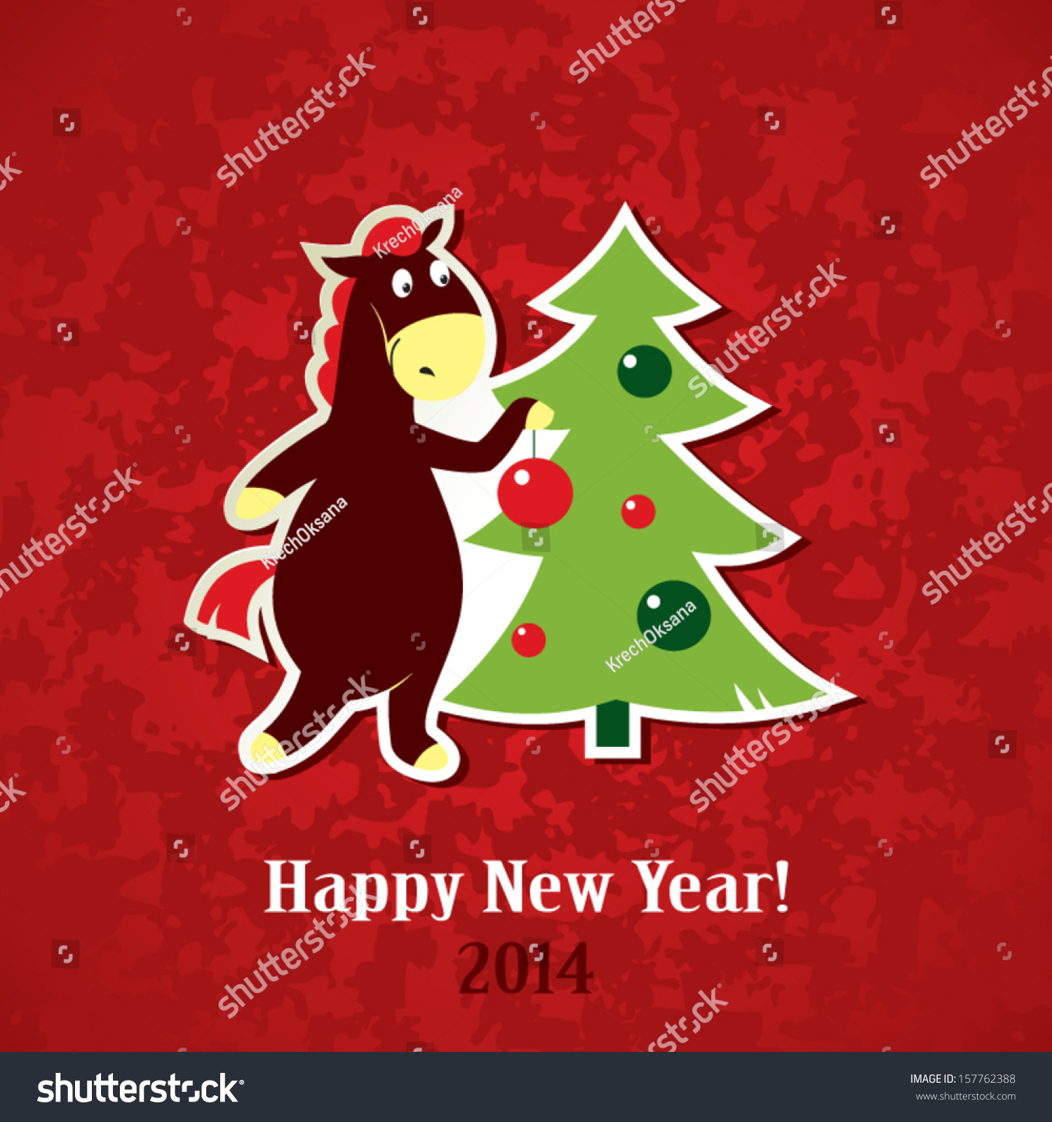 New year greeting card horse christmas stock vector royalty free new year greeting card horse with a christmas tree m4hsunfo