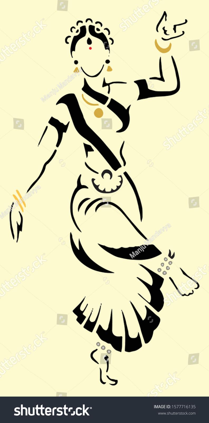 Drawing Sketch Abstract Bharatanatyam Dancing Pose Stock Vector Royalty Free 1577716135