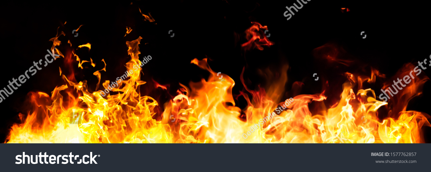 Panorama Fire flames on black background. fire burst texture for banner backdrop. #1577762857