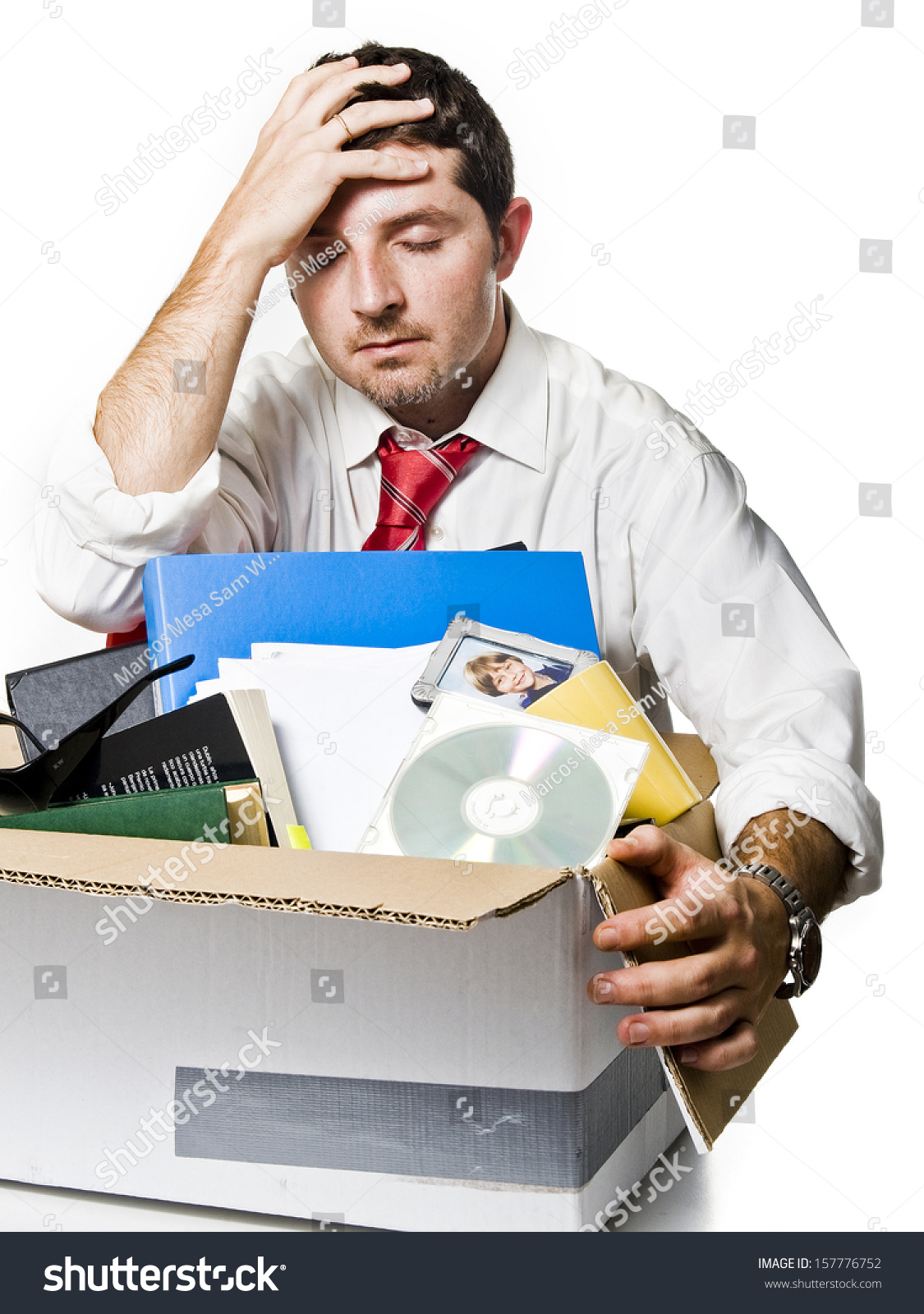 desperate man cardboard box fired job stock photo  desperate man cardboard box fired from job