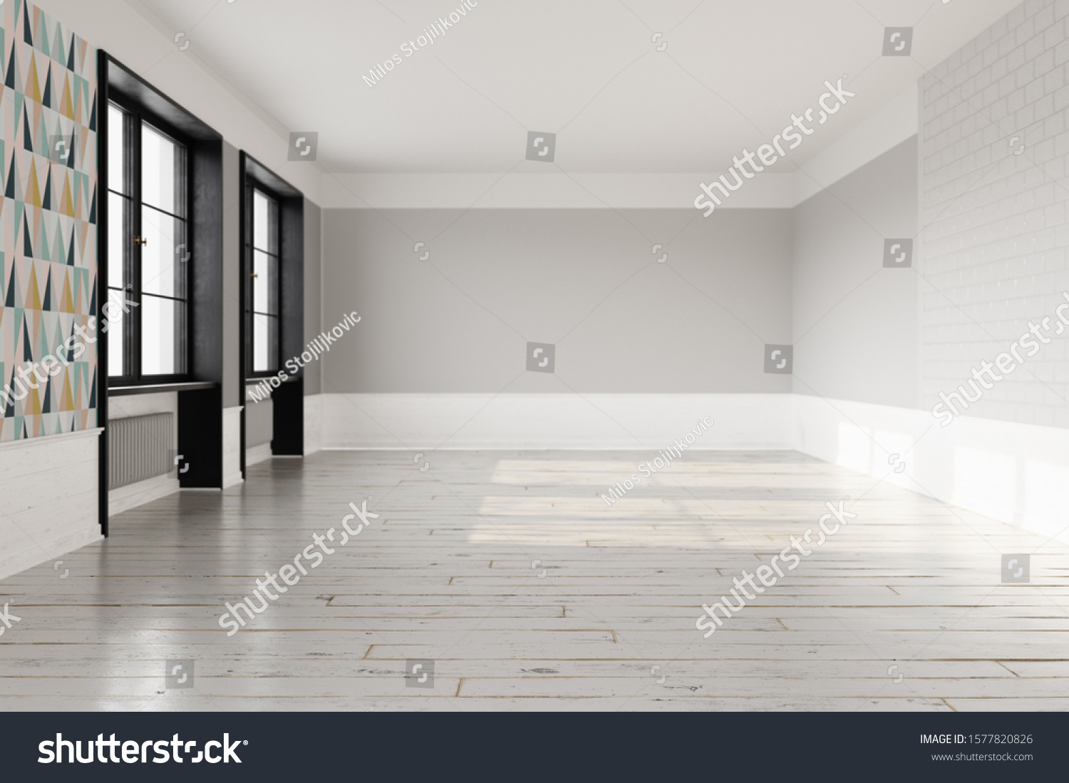 Empty Scandinavian Interior Light Wooden Floor Stock Illustration 1577820826
