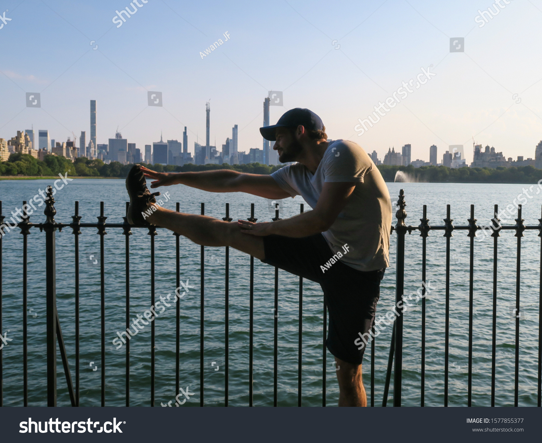 stock-photo-new-york-usa-july-man-stretc