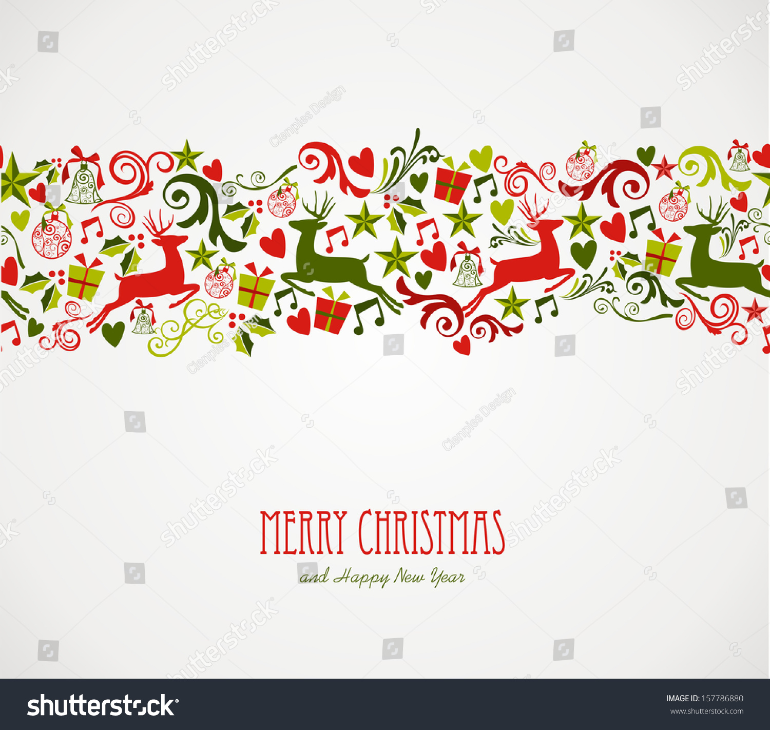 Merry Christmas Decorations Elements Seamless Pattern Stock Vector