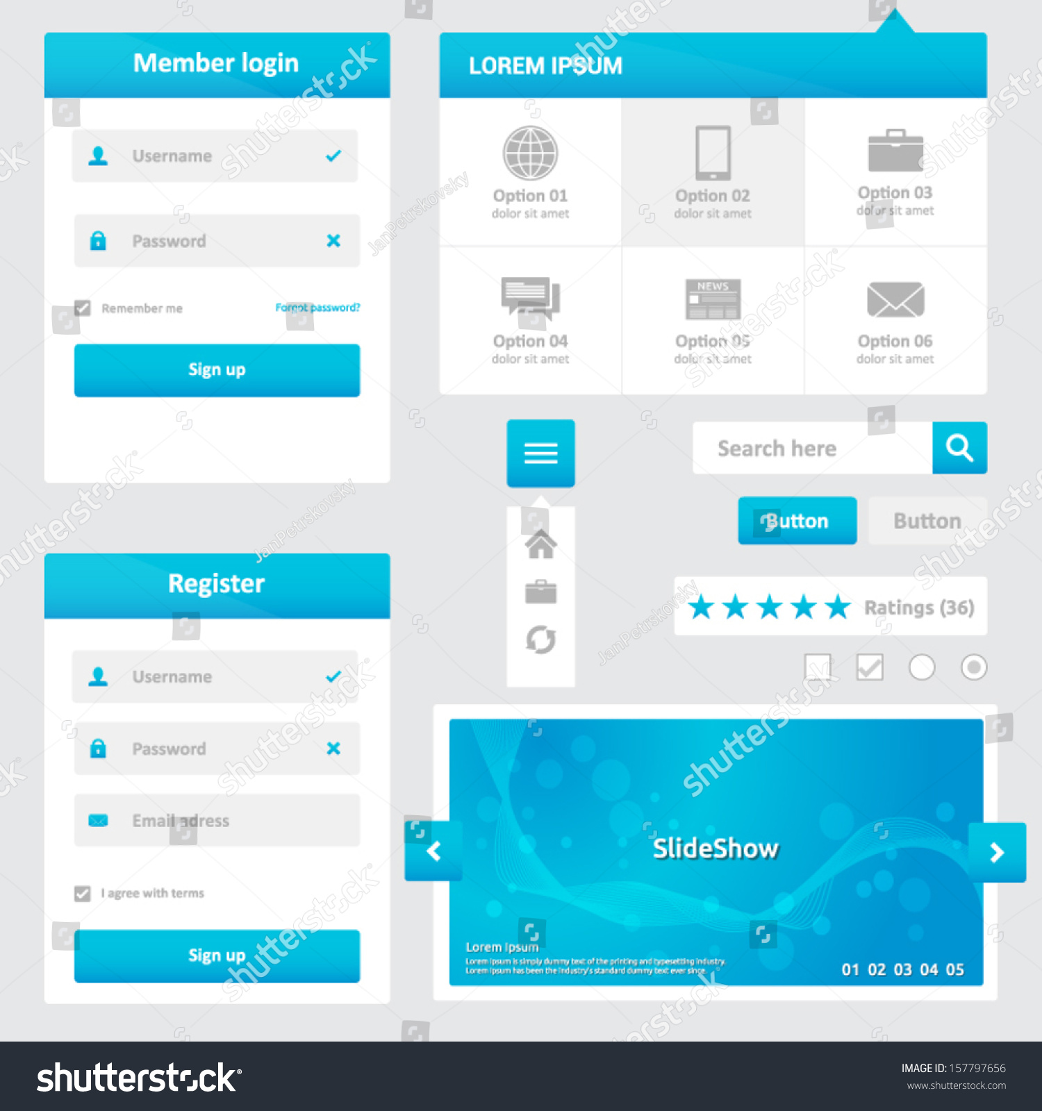 website elements design template for your web page blue and white color member login. Black Bedroom Furniture Sets. Home Design Ideas