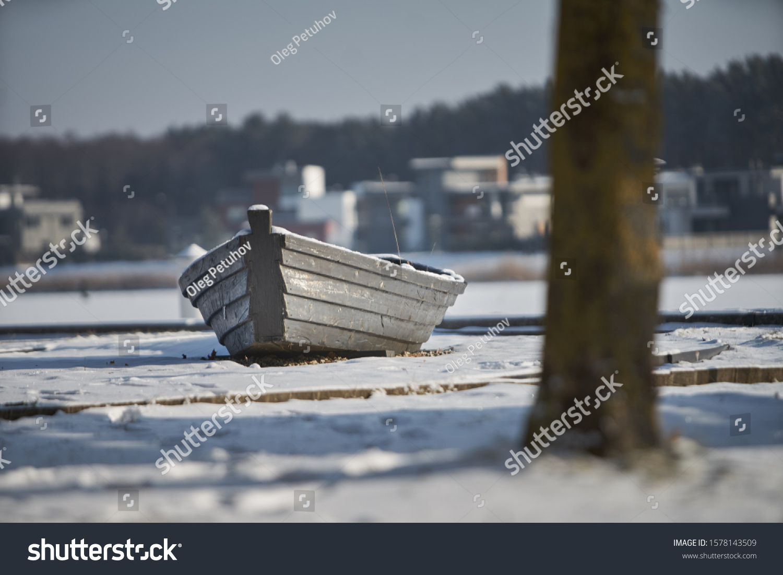 Icy sail boat, Latvia, Boat at the winter coast #1578143509
