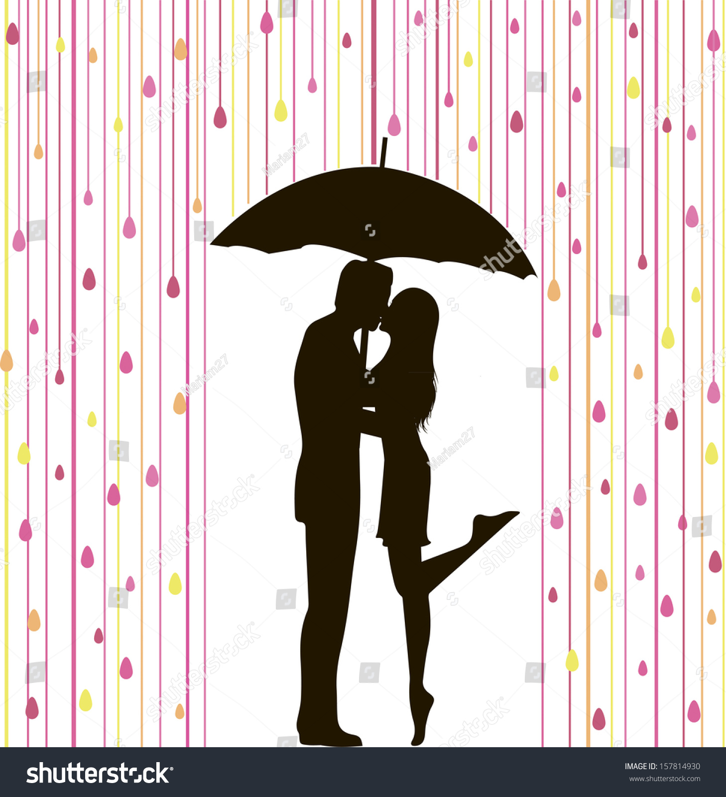 Abstract Vector Illustration Couple Silhouette Under Stock