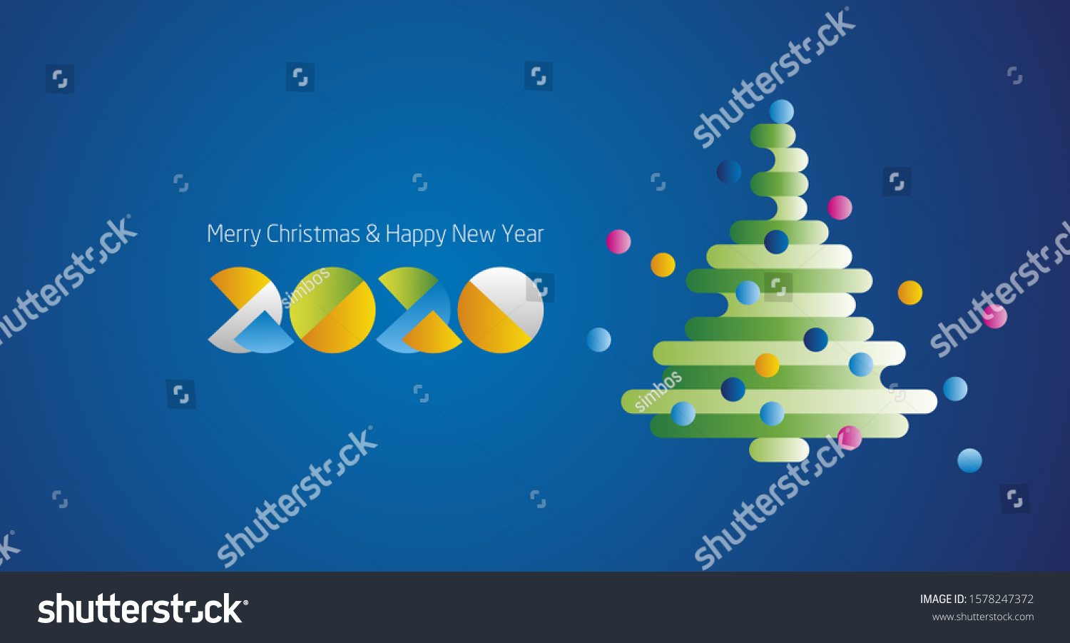 Merry Christmas And Happy New Year Green And Cream 2020 Merry Christmas Happy New Year 2020 Stock Vector (Royalty Free