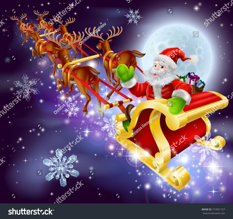 christmas cartoon illustration santa claus flying stock vector