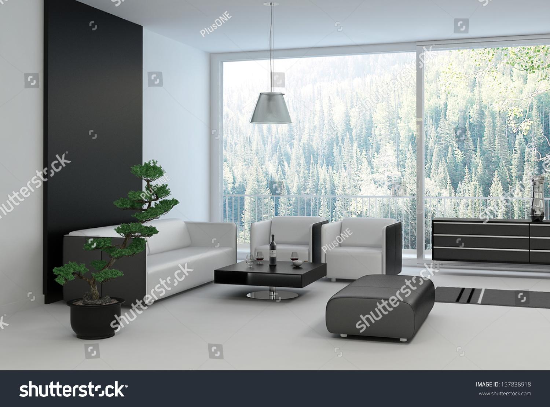 Black White Colored Living Room Floor Stock Illustration 157838918 ...