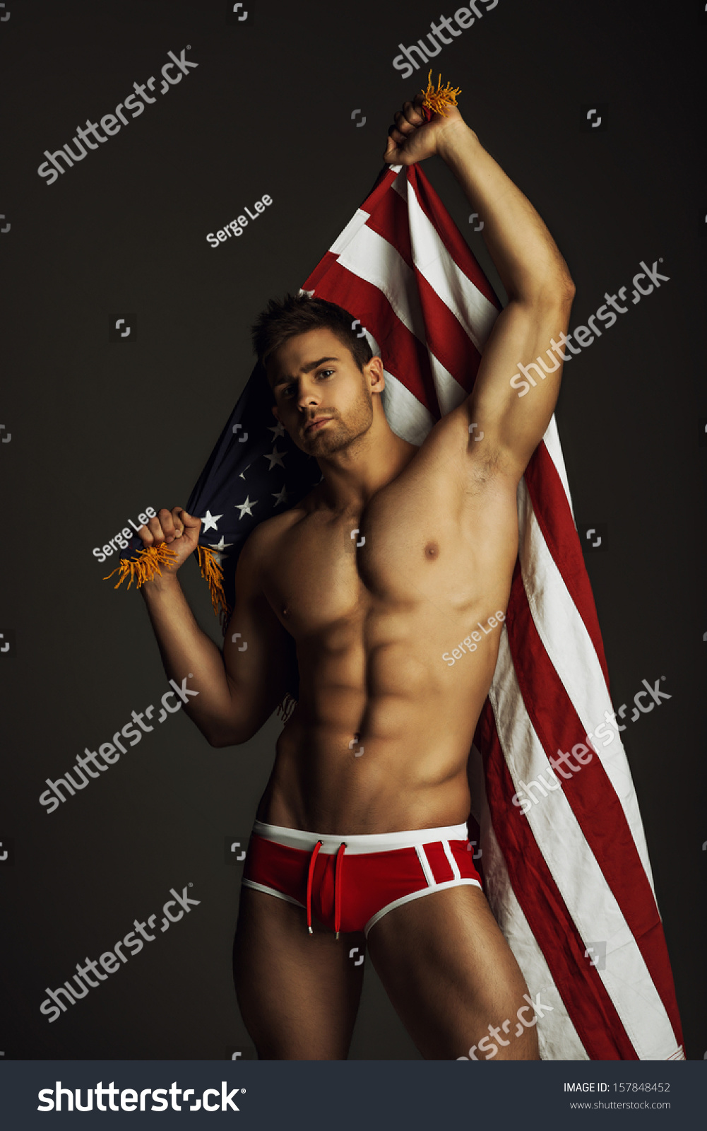 naked man with flag