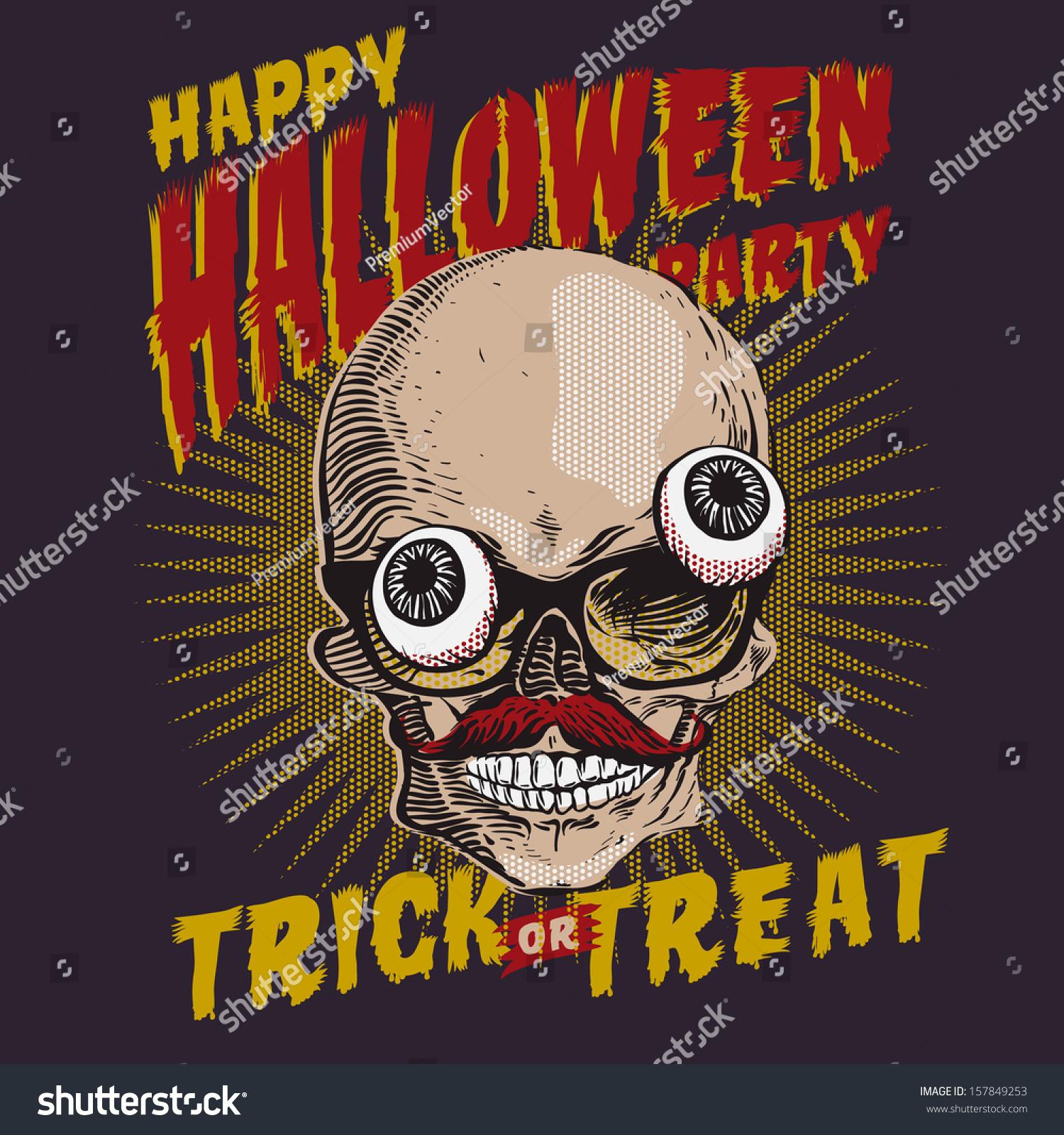 Halloween Party Design Template Cardposterflyer Vector Stock ...