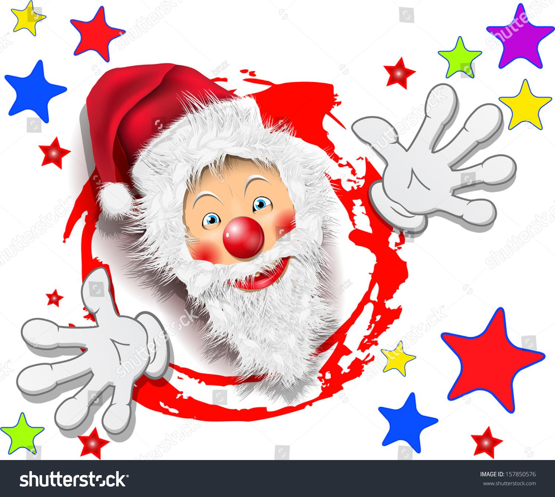 Illustration merry santa claus stars on stock vector