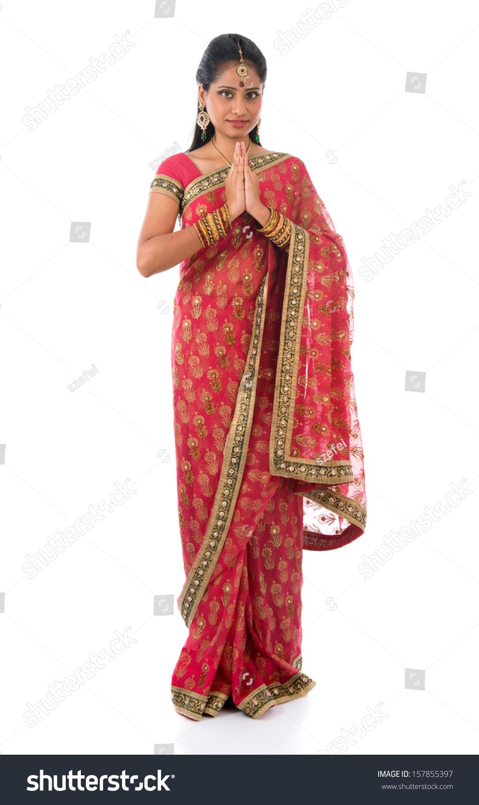 Indian Girl Greeting Pose Traditional Sari Stock Photo Edit Now