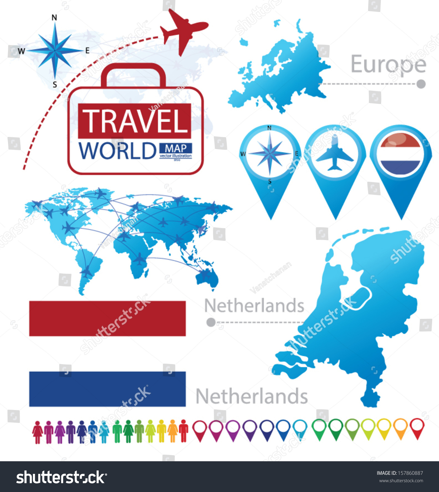 Netherlands Holland Flag World Map Travel Stock Vector Royalty Free