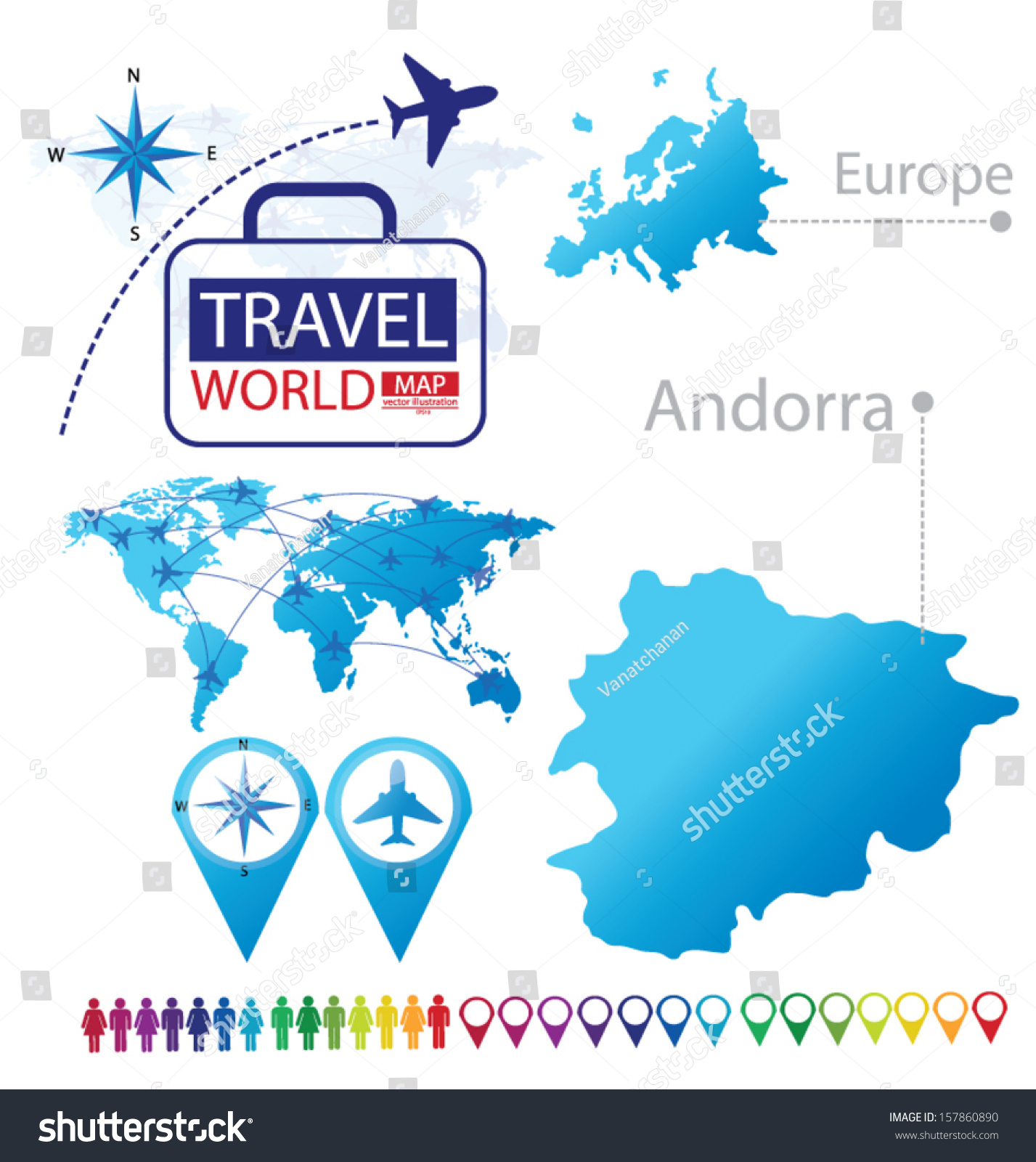 Andorra Map Europe Modern Globe Travel Stock Vector 157860890