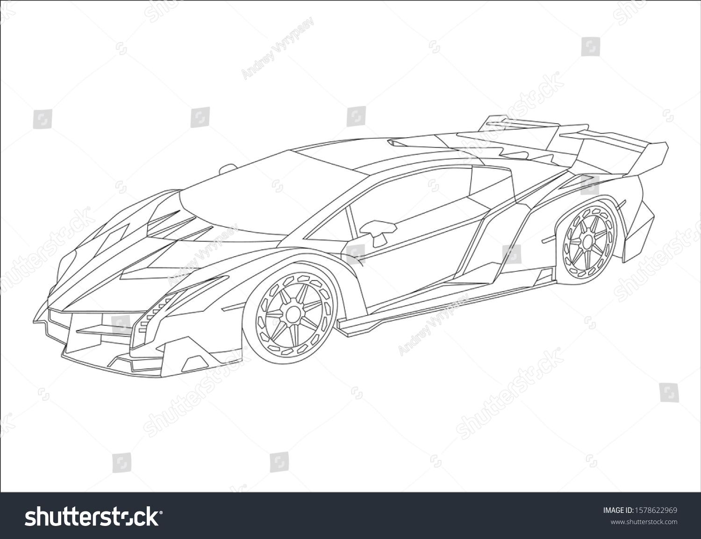 Vector De Stock Libre De Regalias Sobre Esquema De Dibujo De Super Camion 1578622969
