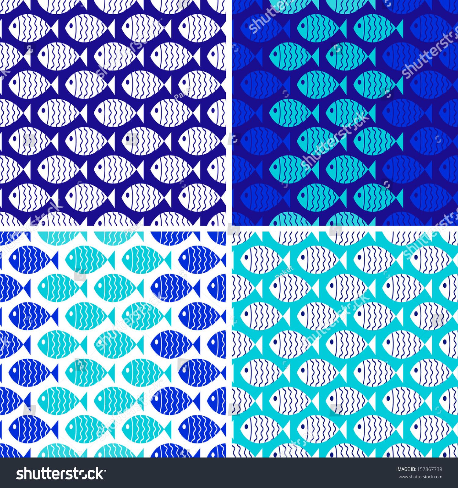 Seamless Nautical Themed Patterns Set Fish Stock Vector