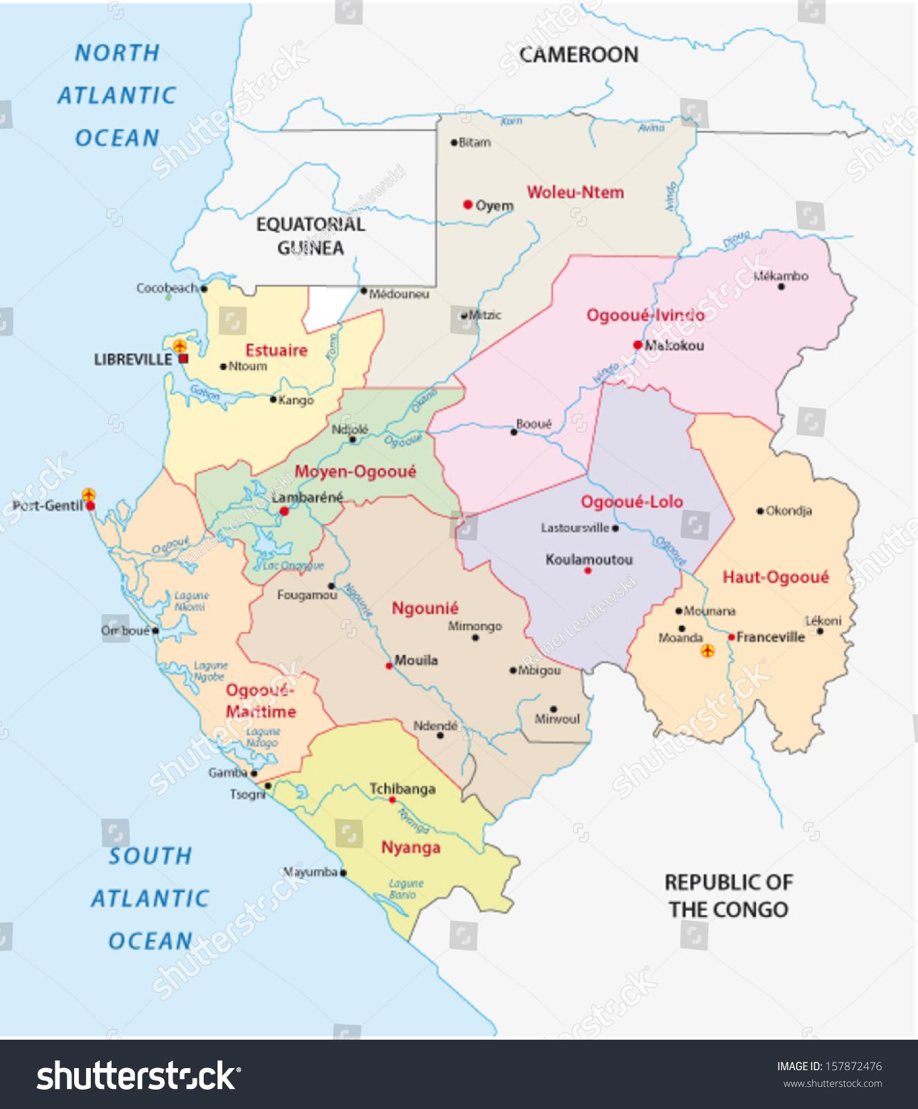 Gabon Administrative Map Stock Vector 157872476 Shutterstock