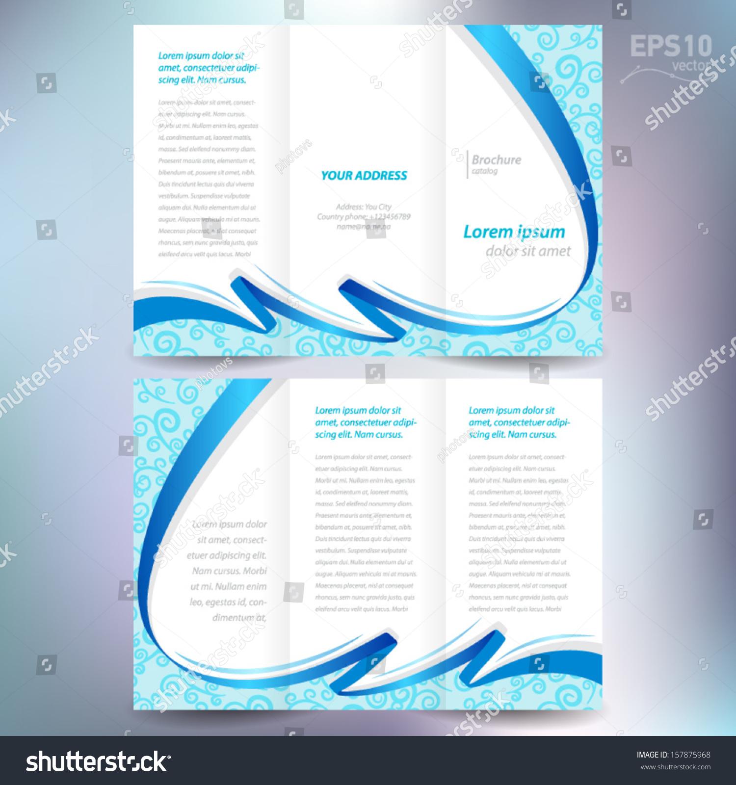 brochure design template vector folder leaflet stock vector 157875968 shutterstock. Black Bedroom Furniture Sets. Home Design Ideas