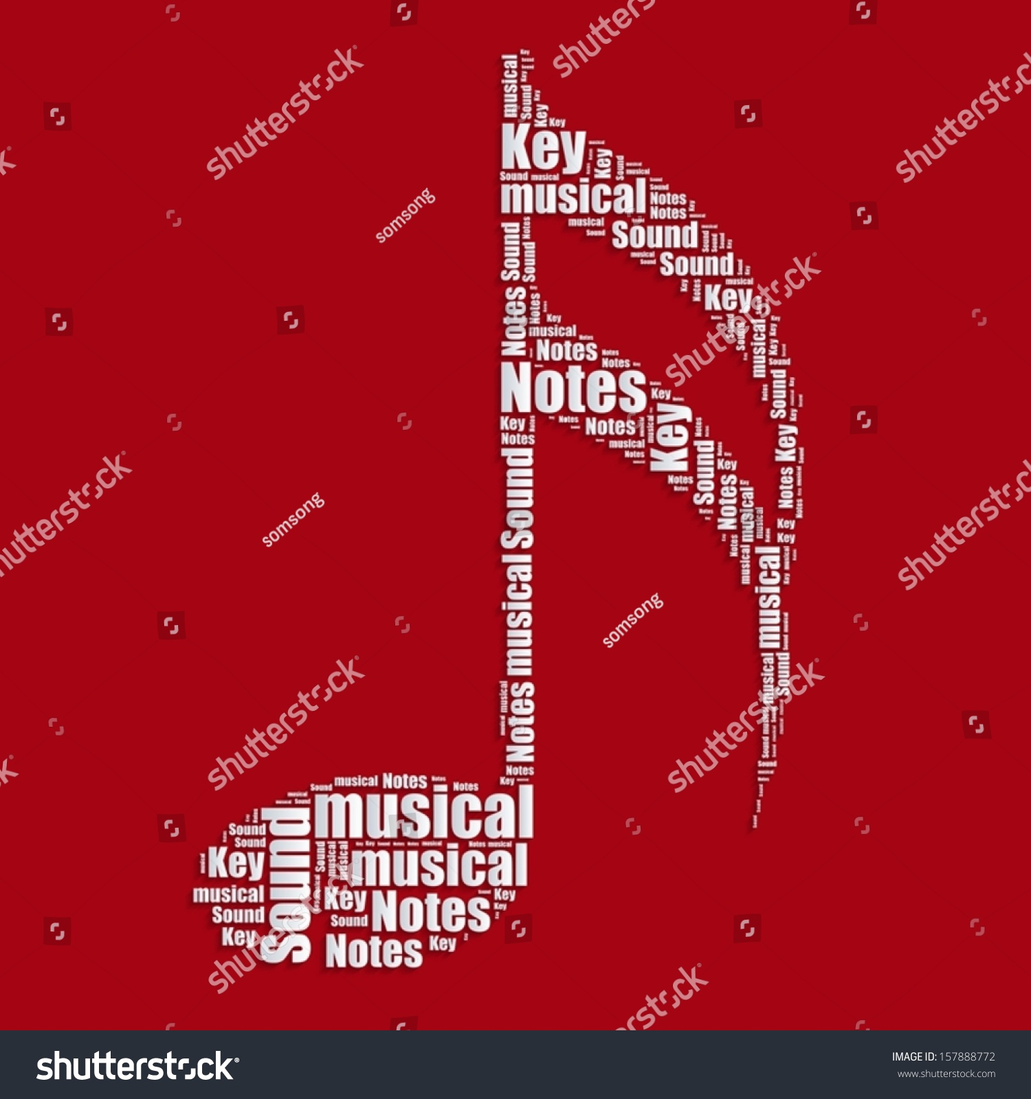 Music Notes Word Cloud Typography Text Word Art Vector