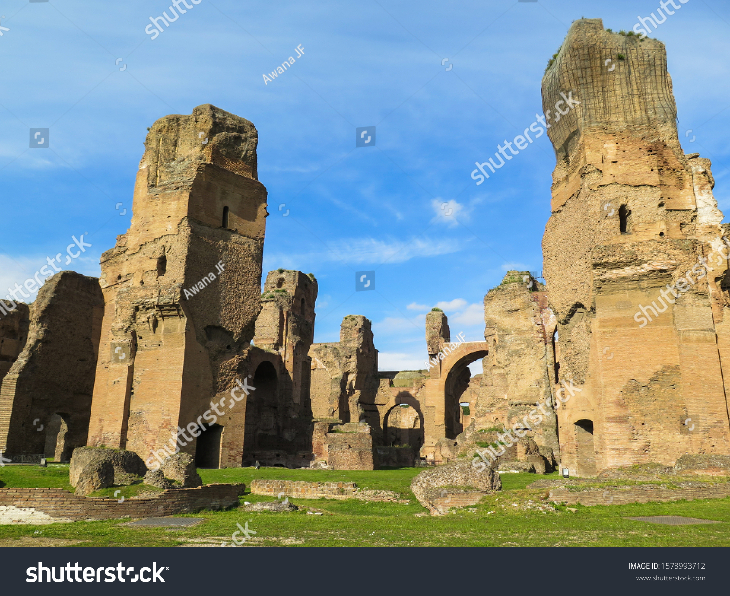 Ruins of Caracalla baths in Rome, Italy