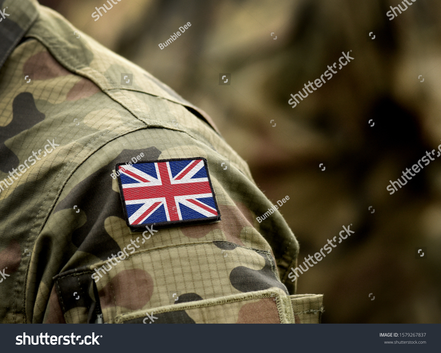 Flag of United Kingdom on military uniform. UK Army. British Armed Forces, soldiers. Collage. #1579267837